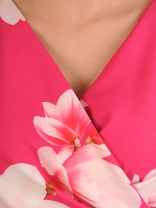 Sukienka wyszczuplająca talię, kreacja kopertowa w kwiaty 29210