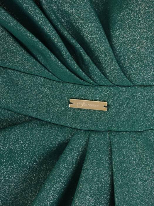 Sukienka wyszczuplająca talię, zielona kreacja kopertowa 27144