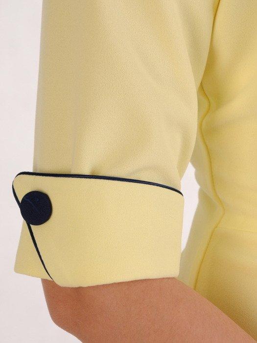 Sukienka wyszczuplająca, żółta kreacja z kontrastowymi wstawkami 20429.