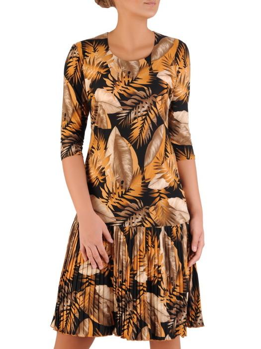 Sukienka z dzianiny bawełnianej, kreacja z ozdobnymi plisami 22227.