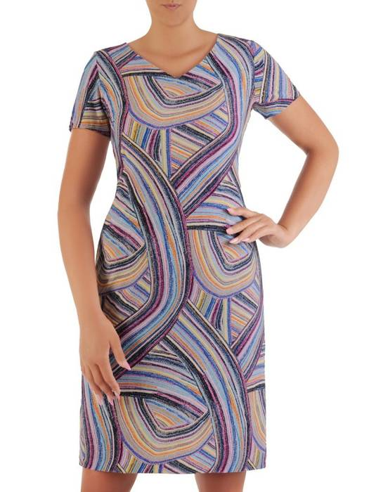 Sukienka z dzianiny, prosta kreacja w oryginalnym wzorze 26398