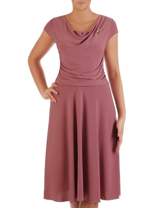 """Sukienka z dzianiny, rozkloszowana kreacja z dekoltem typu """"woda"""" 21155."""