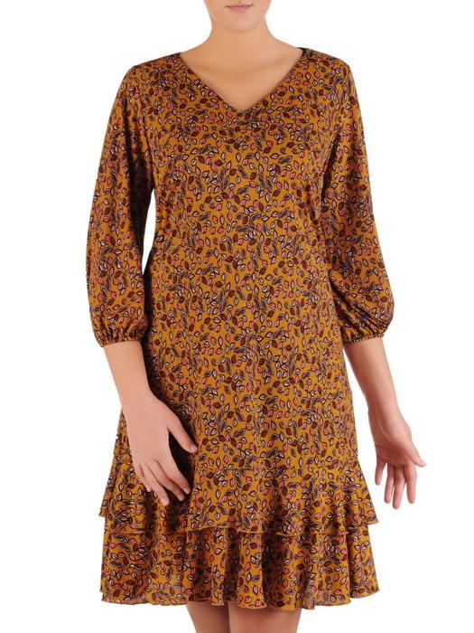 Sukienka z falbanami, zwiewna kreacja w jesiennej kolorystyce 22384.
