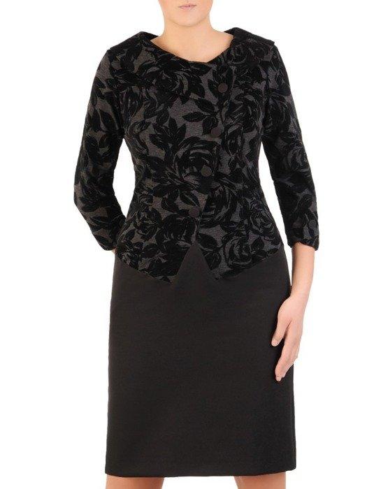 Sukienka z imitacją żakietu, prosta kreacja z ozdobnym kołnierzem 24047