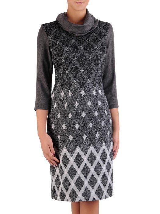 Sukienka z kominem Krystyna V, jesienna kreacja z bawełny.