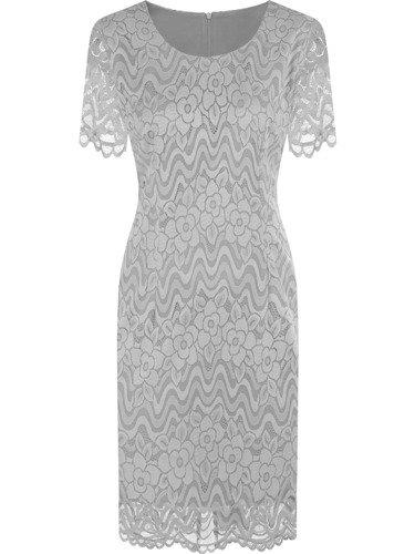 Sukienka z koronki Feryda IV, srebrna kreacja na wesele.