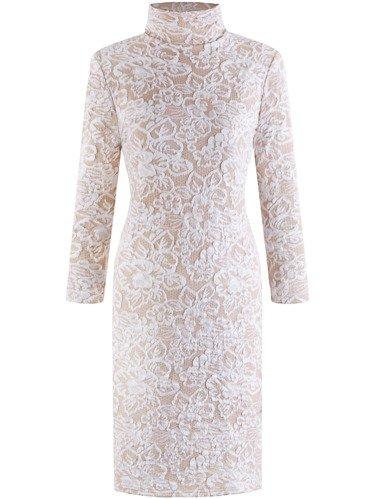 Sukienka z modnym golfem Marcelina II, kreacja z wytłaczanej dzianiny