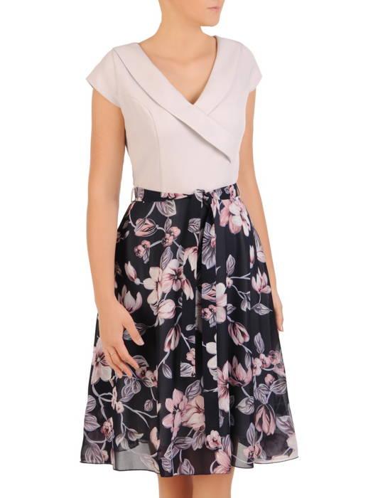 Sukienka z modnym kołnierzem, kreacja z szyfonowymi dołem 30578