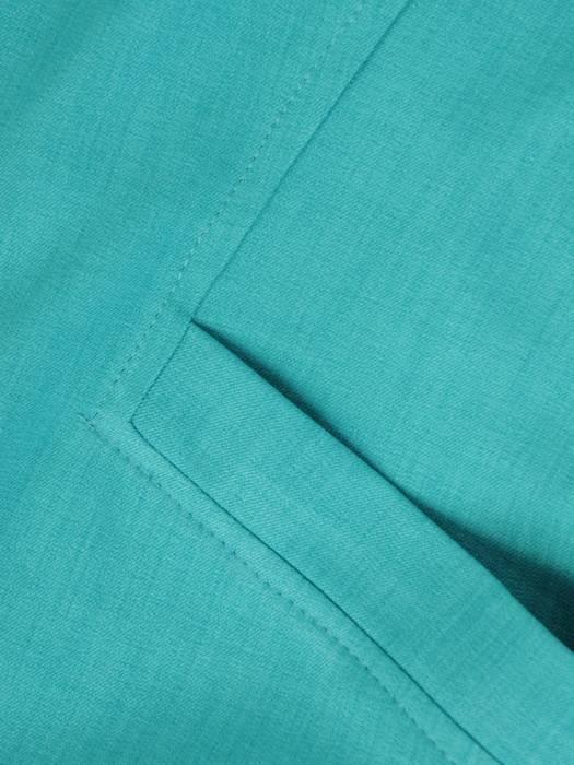 Sukienka z ozdobnie wyciętym dekoltem, turkusowa kreacja z lnu 29361