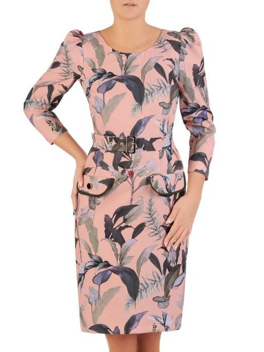 Sukienka z paskiem, prosta kreacja z modnymi rękawami 27610