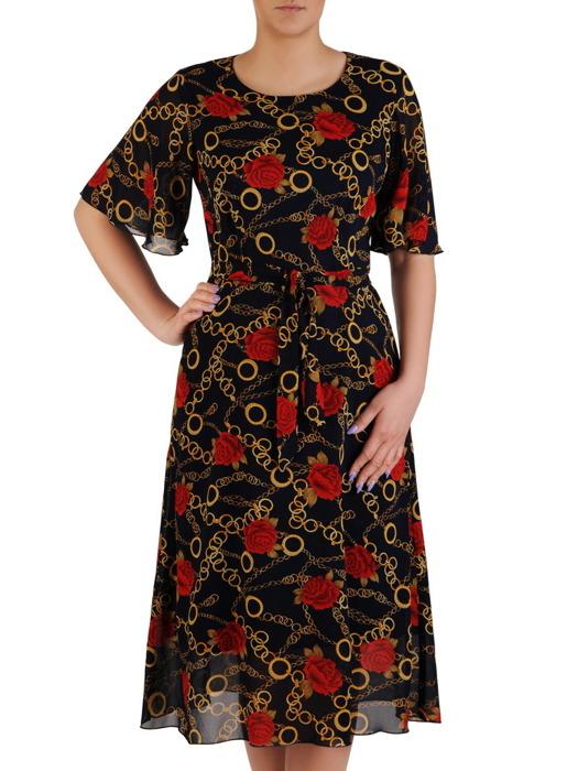 Sukienka z paskiem, wiosenna kreacja w kwiaty 20472.