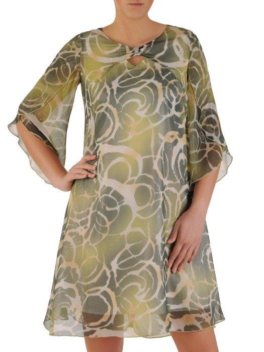 Sukienka z szyfonu, luźna kreacja w oryginalnym połyskującym wzorze 24659