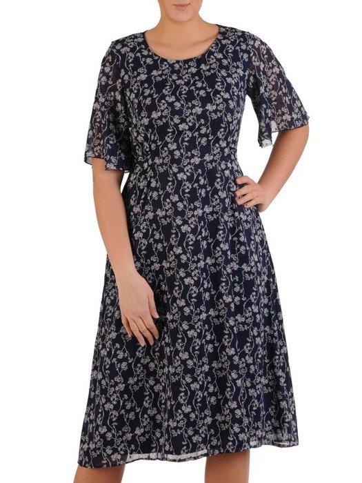 Sukienka z szyfonu, rozkloszowana kreacja z ozdobnym wiązaniem 24667