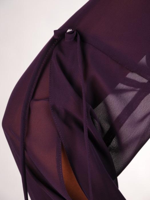 Sukienka z szyfonu, śliwkowa kreacja z ozdobnymi rękawami 22039.