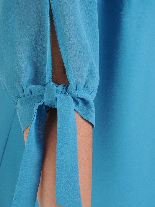 Sukienka z szyfonu, wiosenna kreacja z ozdobnymi rękawami 25792