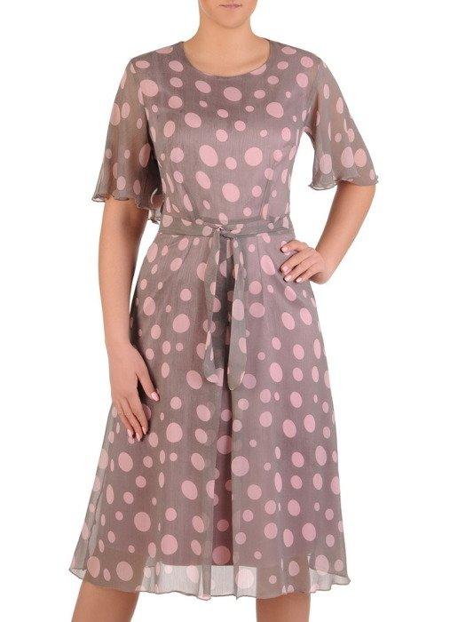 Sukienka z szyfonu z paskiem, zwiewna kreacja w grochy 19868.