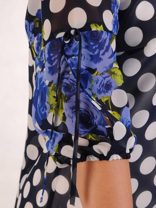 Sukienka z szyfonu, zwiewna kreacja w groszki i kwiaty 26339