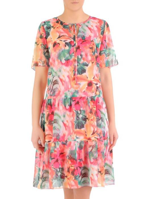 Sukienka z szyfonu, zwiewna kreacja z falbanami 29433