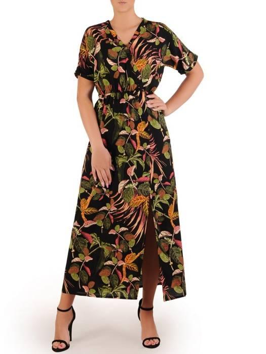 Sukienka z tkaniny, letnia kreacja w kwiaty 26369