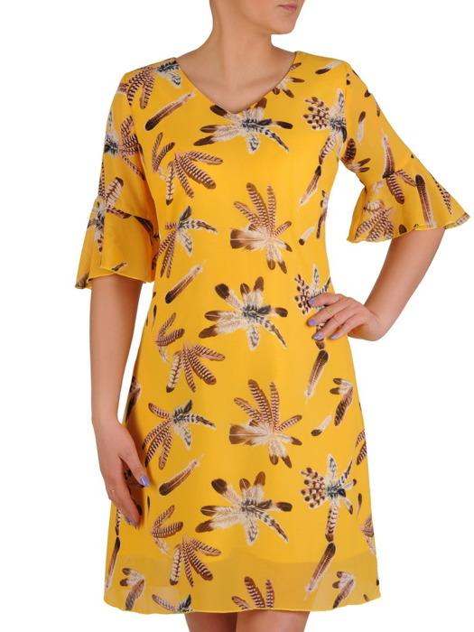Sukienka z tkaniny, żółta kreacja w oryginalne wzory 20475.