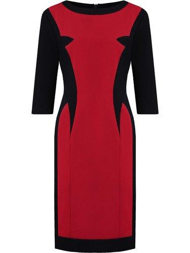 Sukienka z wyszczuplającym wzorem Amber II, jesienna kreacja w nowoczesnym stylu.