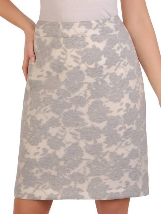 Szara spódnica z oryginalnym kwiatowym wzorem 28311
