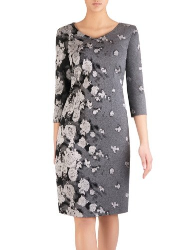 Szara sukienka w kwiaty Eryka, jesienna kreacja z wzorzystej dzianiny