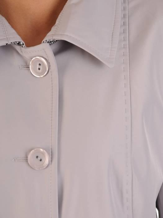 Szary płaszcz z ozdobnymi lamówkami 28541