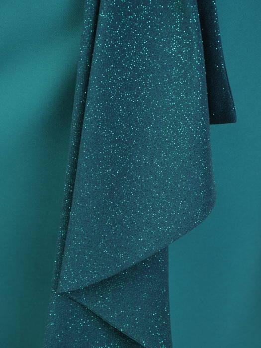 Szmaragdowa sukienka wieczorowa z połyskującą narzutką 30625