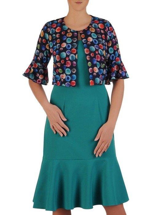 Szmaragdowa sukienka z kolorowym żakietem, modna kreacja na wesele 25861