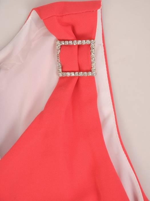 Szyfonowa, koralowa sukienka z dłuższym tyłem 29244
