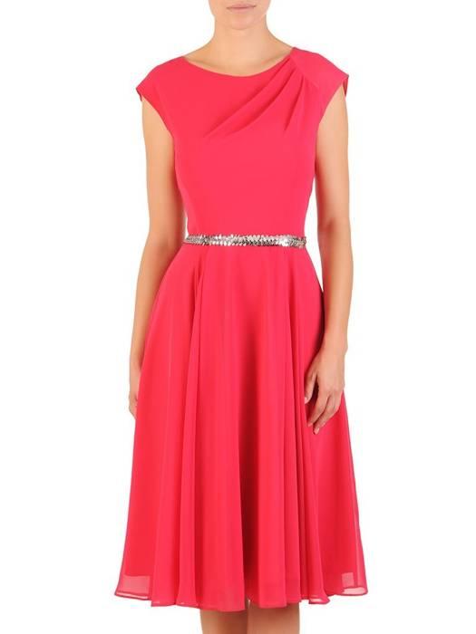 Szyfonowa, rozkloszowana sukienka z wyszczuplającymi zakładkami 30141