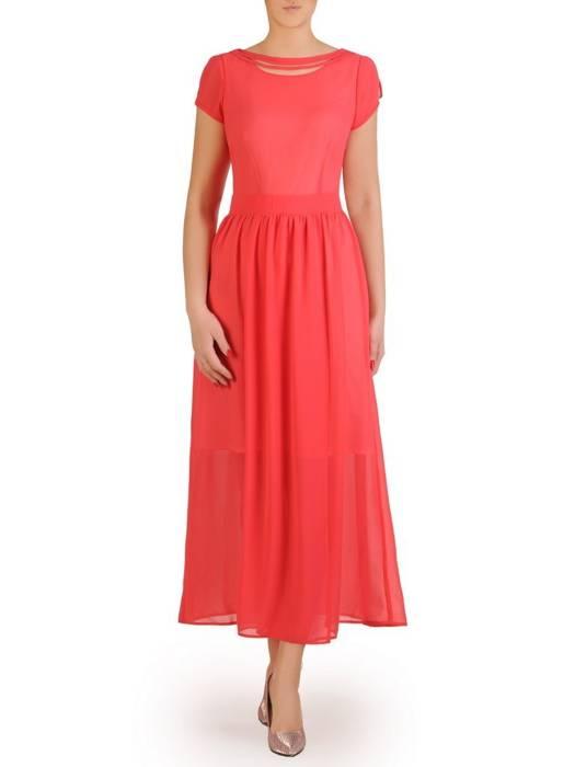 Szyfonowa sukienka maksi, kreacja z ozdobnym dekoltem 29256