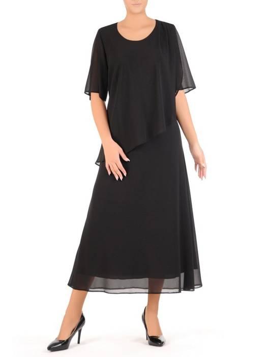 Szyfonowa sukienka maxi, kreacja z maskującą narzutką 27526