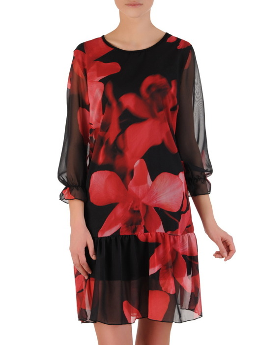 Szyfonowa sukienka z ozdobną falbaną, zwiewna kreacja w kwiaty 20359