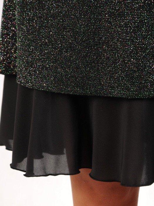 Trapezowa sukienka wieczorowa, kreacja z modnymi mankietami 23841