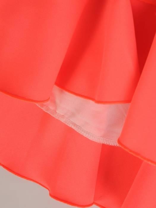 Trapezowa sukienka z falbanami, kreacja z gumkami na rękawach 29158