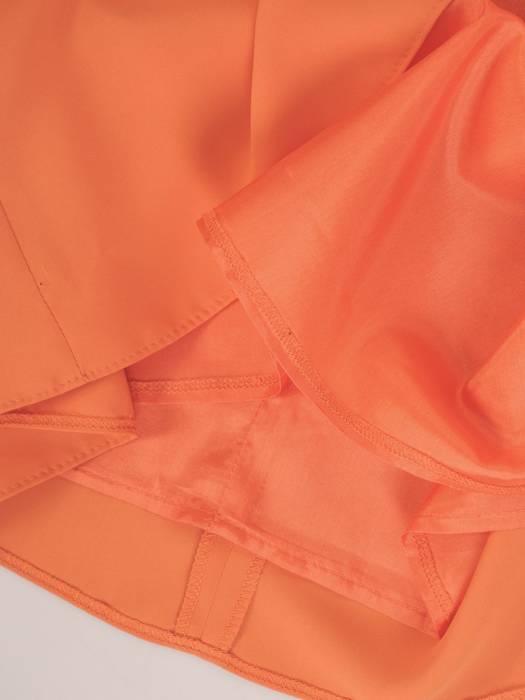 Trapezowa sukienka z kieszeniami, kreacja z ozdobnym dekoltem 30076