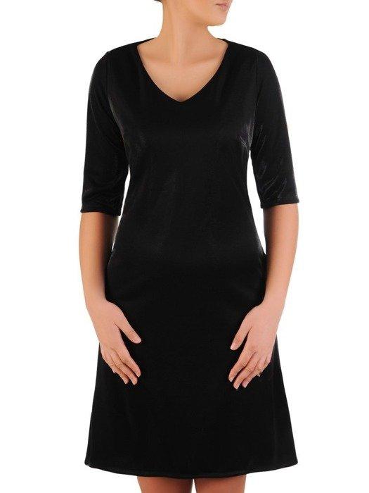Trapezowa sukienka z kieszeniami, kreacja z połyskiem 22653