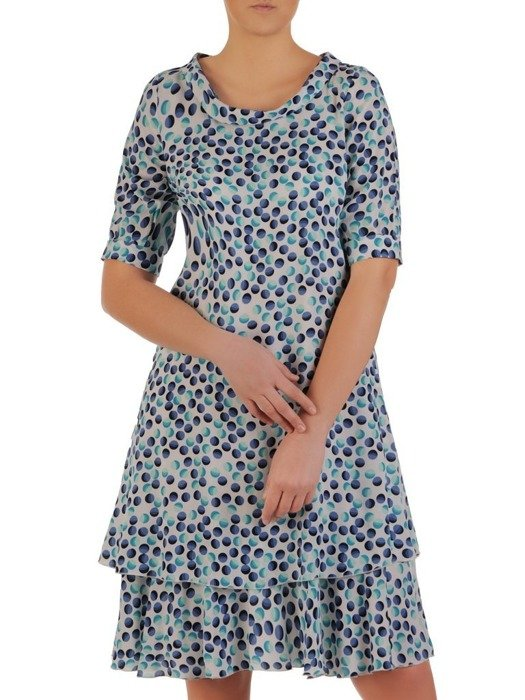 Trapezowa sukienka z półgolfem, lekka kreacja w groszki 25041