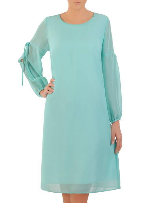 Trapezowa sukienka z szyfonu, kreacja z ozdobnymi rękawami  30858