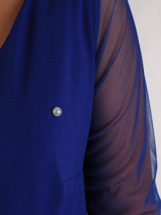 Trapezowa sukienka z tiulowymi rękawami 24135