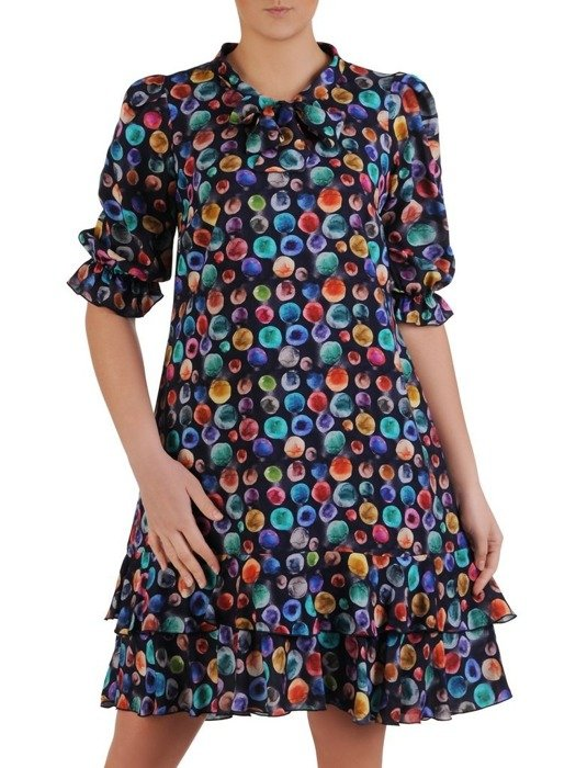 Trapezowa sukienka z tkaniny, zwiewna kreacja na wiosnę 25494