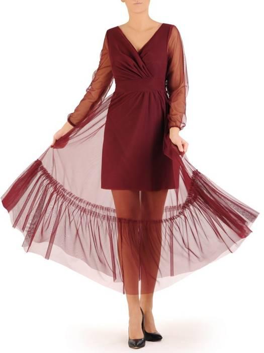 Wieczorowa, bordowa sukienka damska wykończona dekoracyjnym tiulem 28009