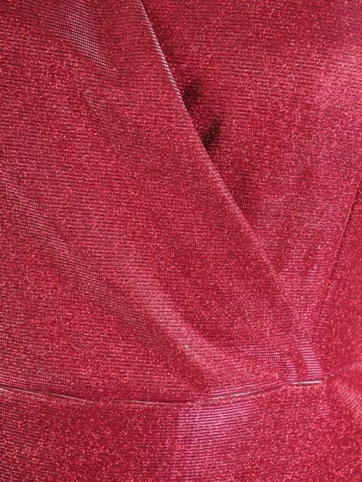 Wieczorowa sukienka kopertowa, kreacja z połyskującej dzianiny 30148