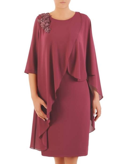 Wieczorowa sukienka z połyskującego szyfonu, kreacja z ozdobną aplikacją 30430