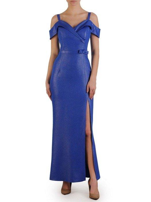 Wieczorowa suknia na cienkich ramiączkach, długa chabrowa kreacja 25134