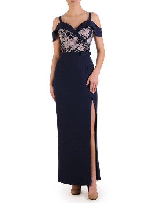 Wieczorowa suknia na cienkich ramiączkach, długa kreacja z rozcięciem 25120