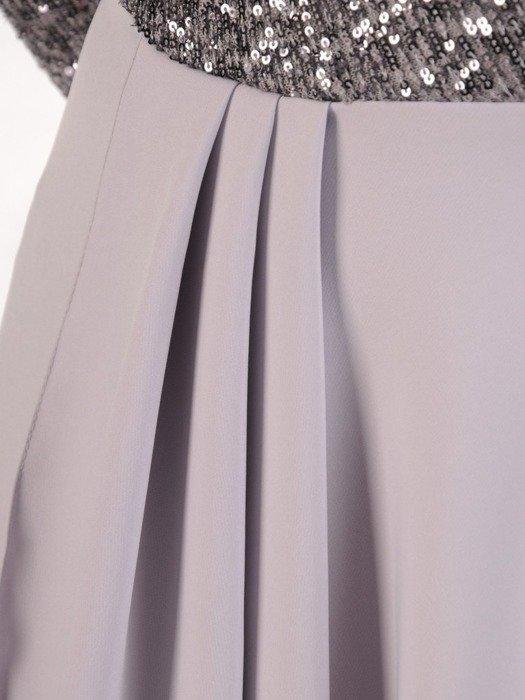 Wieczorowa suknia z cekinowym zdobieniem, szara kreacja maxi 24881