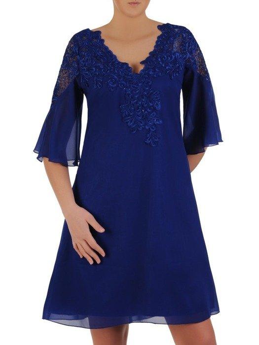 Wieczorowa trapezowa sukienka wykończona modną koronką 25172